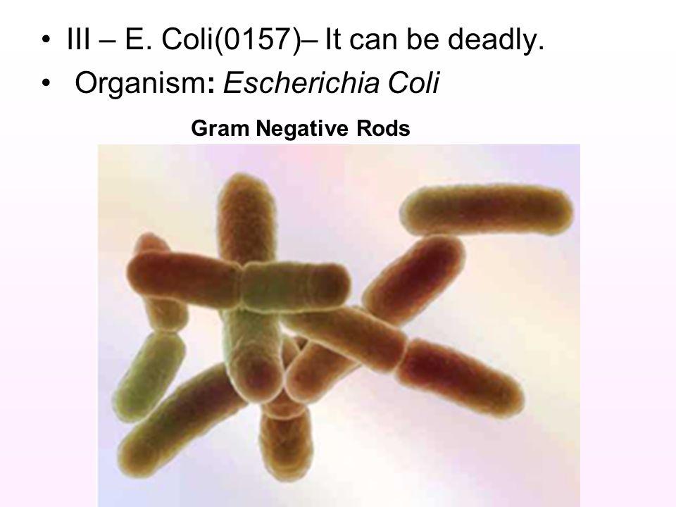 III – E. Coli(0157)– It can be deadly. Organism: Escherichia Coli Gram Negative Rods