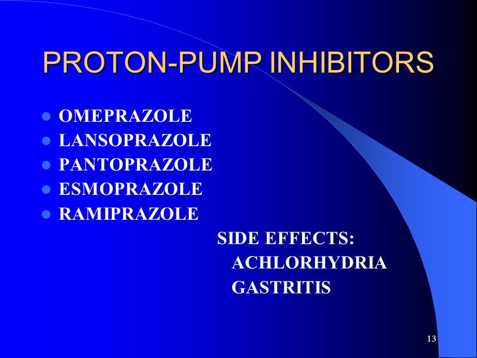 13 PROTON-PUMP INHIBITORS OMEPRAZOLE LANSOPRAZOLE PANTOPRAZOLE ESMOPRAZOLE RAMIPRAZOLE SIDE EFFECTS: ACHLORHYDRIA GASTRITIS