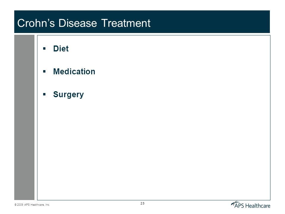 © 2009 APS Healthcare, Inc. 23 Crohn's Disease Treatment  Diet  Medication  Surgery