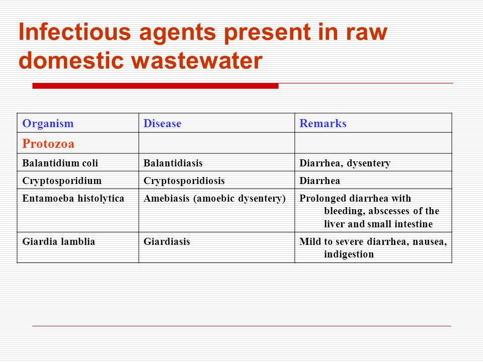 OrganismDiseaseRemarks Protozoa Balantidium coliBalantidiasisDiarrhea, dysentery CryptosporidiumCryptosporidiosisDiarrhea Entamoeba histolyticaAmebiasis (amoebic dysentery)Prolonged diarrhea with bleeding, abscesses of the liver and small intestine Giardia lambliaGiardiasisMild to severe diarrhea, nausea, indigestion Infectious agents present in raw domestic wastewater