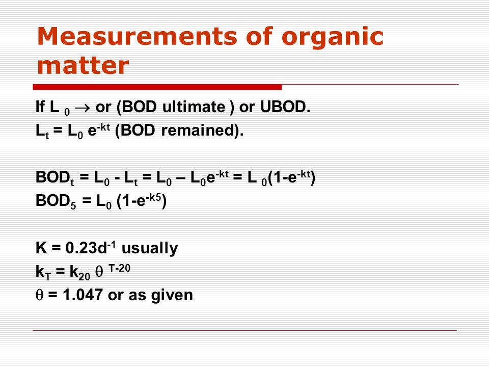 If L 0  or (BOD ultimate ) or UBOD. L t = L 0 e -kt (BOD remained).