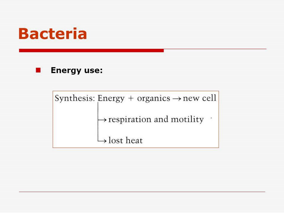 Bacteria Energy use: