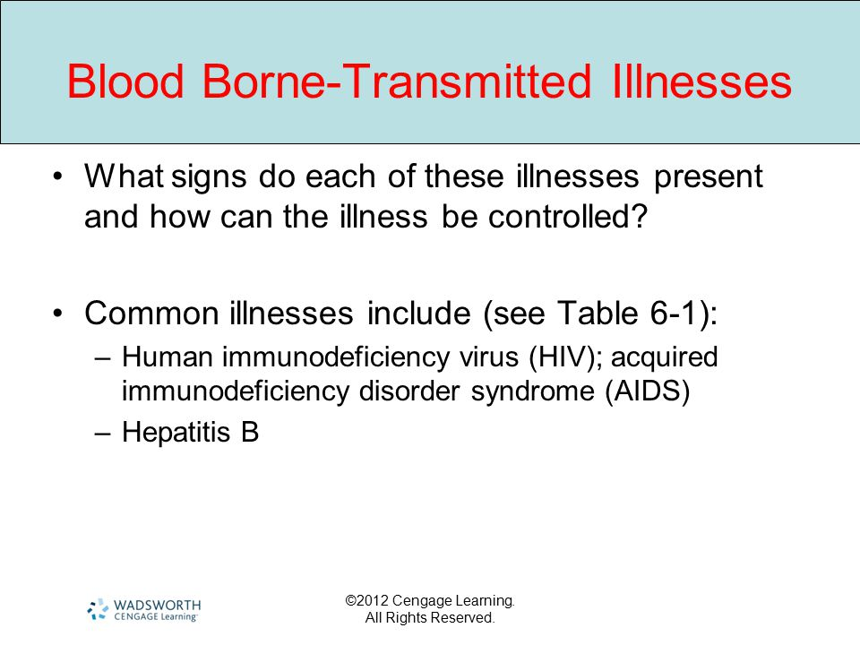 ©2012 Cengage Learning. All Rights Reserved. Blood Borne-Transmitted Illnesses What signs do each of these illnesses present and how can the illness b