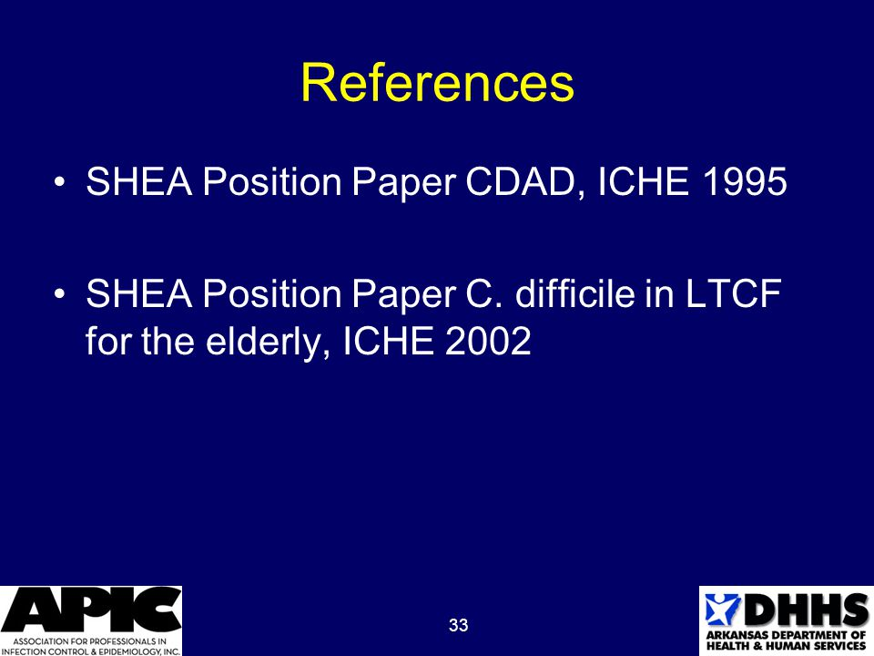33 References SHEA Position Paper CDAD, ICHE 1995 SHEA Position Paper C.