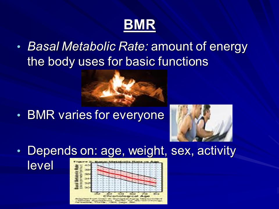 BMR Basal Metabolic Rate: amount of energy the body uses for basic functions Basal Metabolic Rate: amount of energy the body uses for basic functions BMR varies for everyone BMR varies for everyone Depends on: age, weight, sex, activity level Depends on: age, weight, sex, activity level