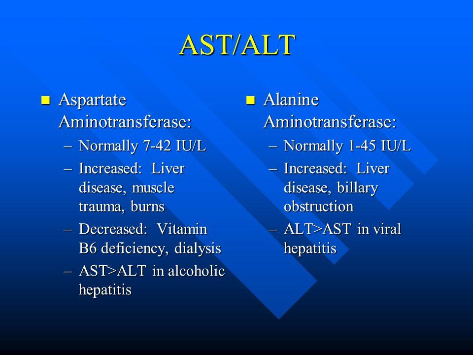 AST/ALT Aspartate Aminotransferase: Aspartate Aminotransferase: –Normally 7-42 IU/L –Increased: Liver disease, muscle trauma, burns –Decreased: Vitamin B6 deficiency, dialysis –AST>ALT in alcoholic hepatitis Alanine Aminotransferase: –Normally 1-45 IU/L –Increased: Liver disease, billary obstruction –ALT>AST in viral hepatitis