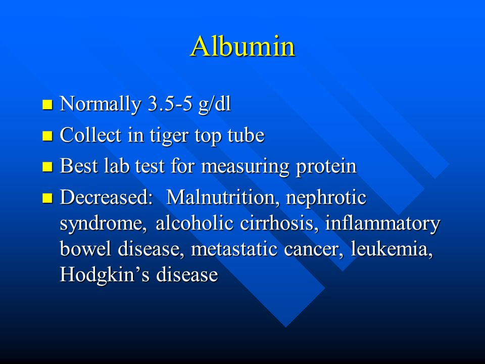 Albumin Normally 3.5-5 g/dl Normally 3.5-5 g/dl Collect in tiger top tube Collect in tiger top tube Best lab test for measuring protein Best lab test