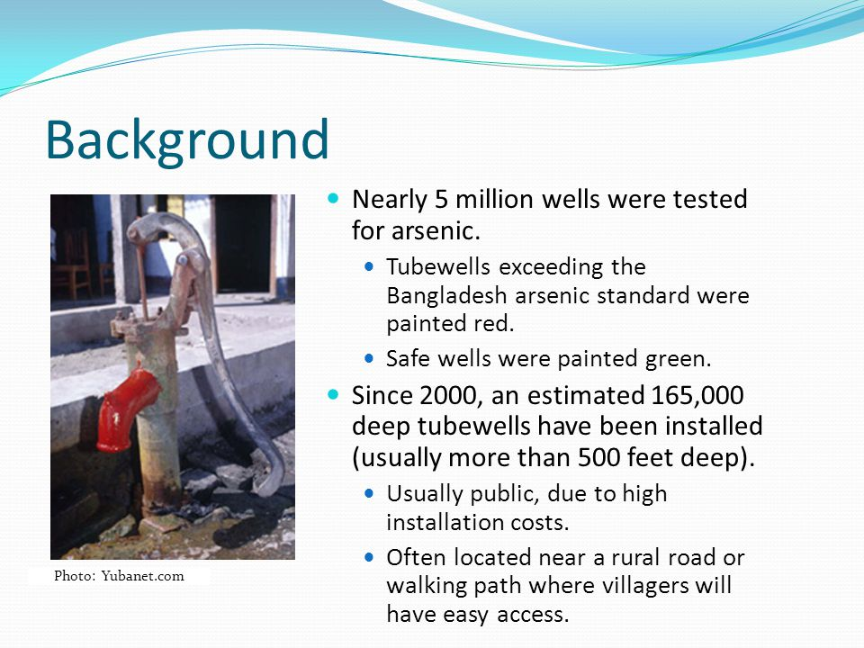 Background Nearly 5 million wells were tested for arsenic.