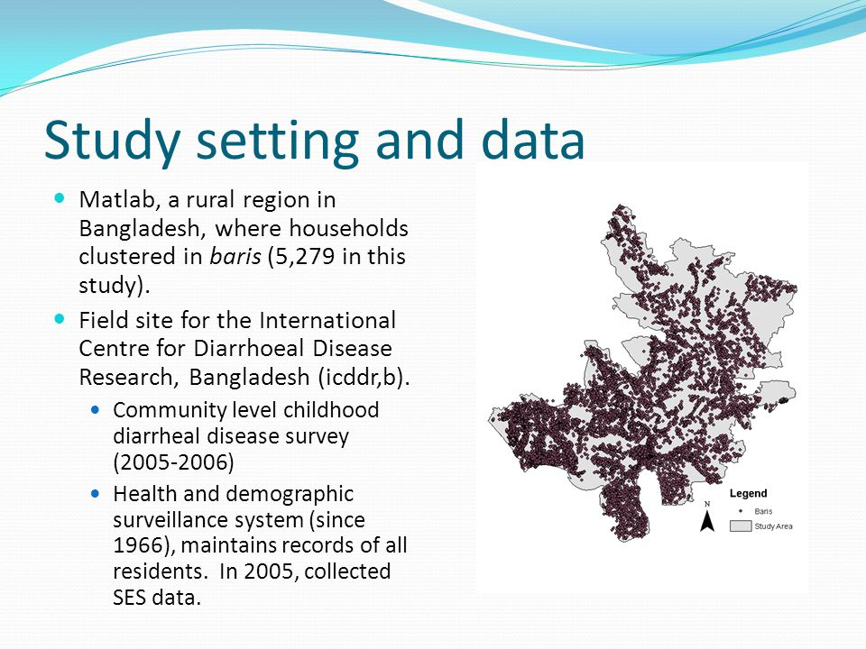 Study setting and data Matlab, a rural region in Bangladesh, where households clustered in baris (5,279 in this study).