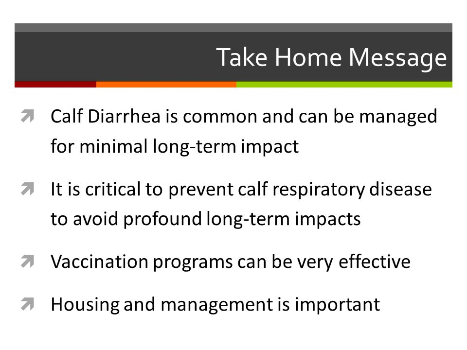 Take Home Message  Calf Diarrhea is common and can be managed for minimal long-term impact  It is critical to prevent calf respiratory disease to avoid profound long-term impacts  Vaccination programs can be very effective  Housing and management is important