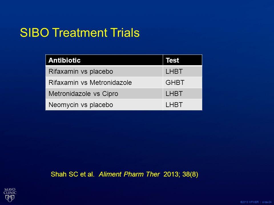 ©2013 MFMER | slide-24 SIBO Treatment Trials AntibioticTest Rifaxamin vs placeboLHBT Rifaxamin vs MetronidazoleGHBT Metronidazole vs CiproLHBT Neomyci