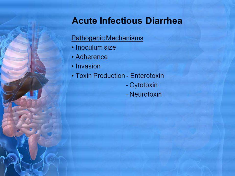 Acute Infectious Diarrhea Pathogenic Mechanisms Inoculum size Adherence Invasion Toxin Production - Enterotoxin - Cytotoxin - Neurotoxin