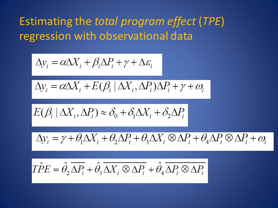 Estimating the total program effect (TPE) regression with observational data