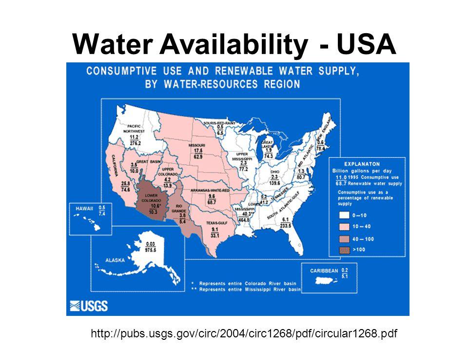 Water Availability - USA http://pubs.usgs.gov/circ/2004/circ1268/pdf/circular1268.pdf