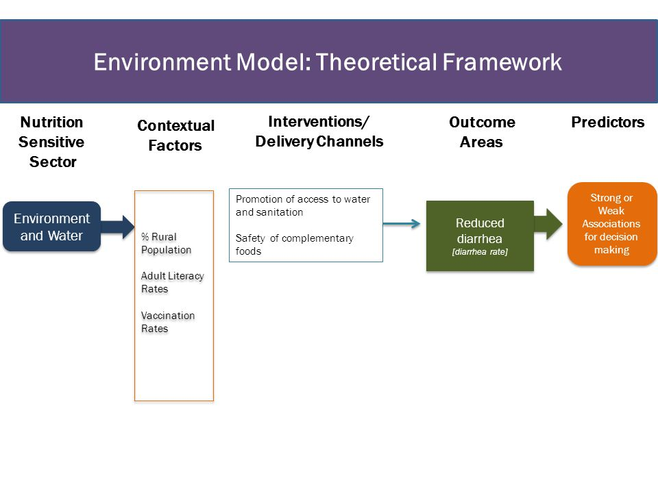 Environment Model: Theoretical Framework Environment and Water Strong or Weak Associations for decision making Nutrition Sensitive Sector Interventions/ Delivery Channels Outcome Areas Predictors Reduced diarrhea [diarrhea rate] Reduced diarrhea [diarrhea rate] Promotion of access to water and sanitation Safety of complementary foods Contextual Factors % Rural Population Adult Literacy Rates Vaccination Rates % Rural Population Adult Literacy Rates Vaccination Rates