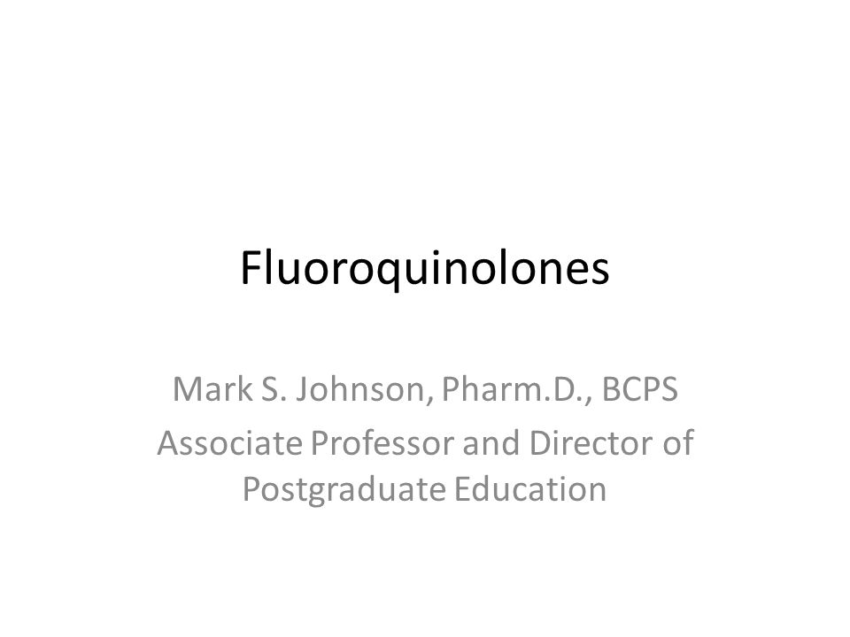 Fluoroquinolones Very popular class of antibiotics due to spectrum of coverage (gram positive, gram negative, atypicals), unique mechanism of action resulting in inhibition of bacterial DNA gyrase and topoisomerase IV, excellent PO bioavailability, fairly well tolerated – Has led to overprescribing, resistance Nalidixic acid was first quinolone (1962) – Had limited antibacterial activity – Associated with rapid development of bacterial resistance – Was only useful for lower UTI's – Synthesis led to the evolution of the fluoroquinolones.