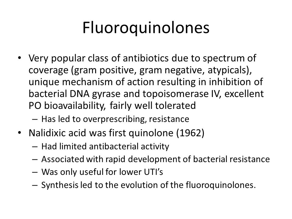 Fluoroquinolones Drug Interactions Drug interactions: – Quinolones' absorption reduced by: di-, tri-valent cations (antacids, Ca supplements, iron, MVI, diary products, etc), sucralfate, ddi – Space out as far apart as can (at least 2h, but more better) – Quinolones can inhibit metabolism of: theophylline, caffeine, warfarin