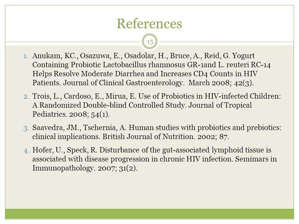 References 1. Anukam, KC., Osazuwa, E., Osadolar, H., Bruce, A., Reid, G.