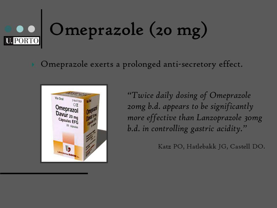 Omeprazole (20 mg) Omeprazole exerts a prolonged anti-secretory effect.