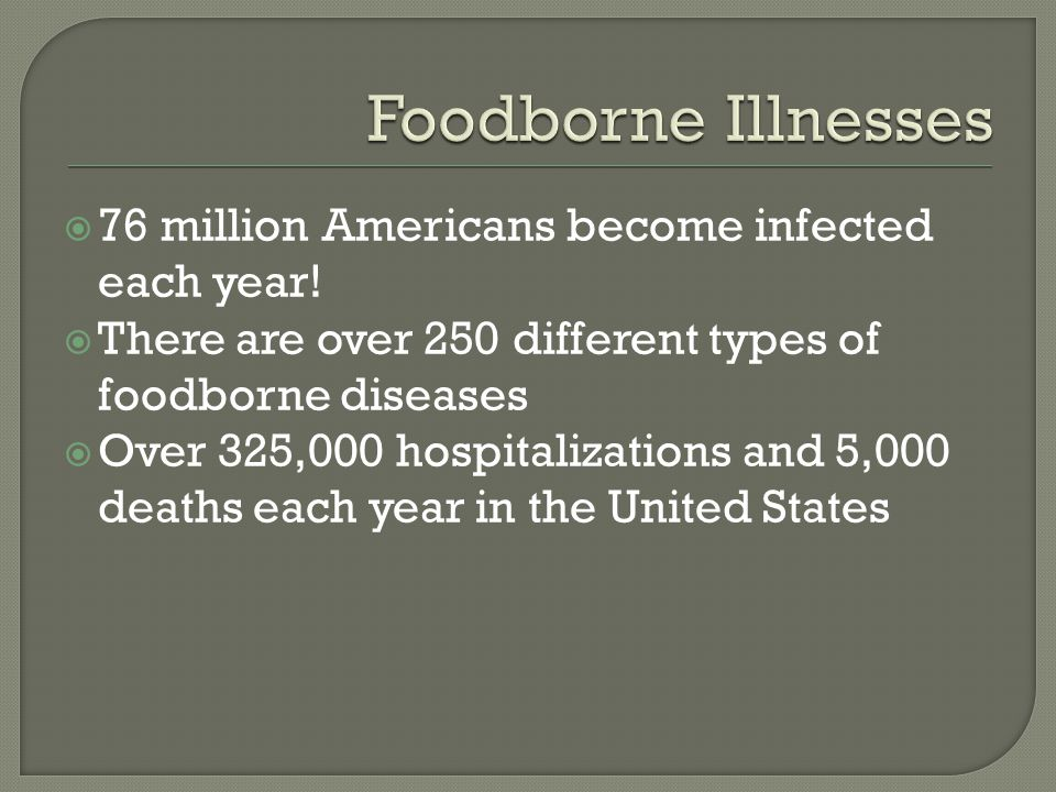  76 million Americans become infected each year.