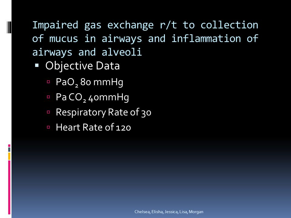 Impaired gas exchange r/t to collection of mucus in airways and inflammation of airways and alveoli  Objective Data  PaO 2 80 mmHg  Pa CO 2 40mmHg  Respiratory Rate of 30  Heart Rate of 120 Chelsea, Elisha, Jessica, Lisa, Morgan