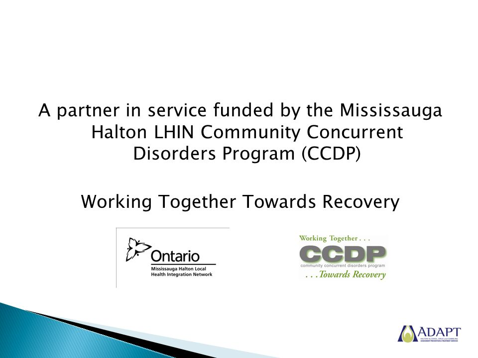 A partner in service funded by the Mississauga Halton LHIN Community Concurrent Disorders Program (CCDP) Working Together Towards Recovery
