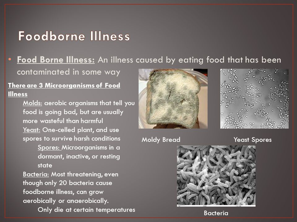Food Intoxication: A bacterial foodborne illness that occurs when microorganisms grow in food and produce a toxin there.