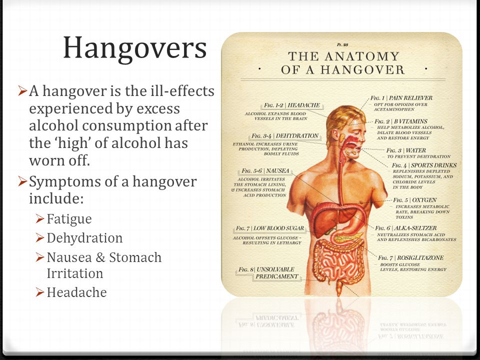 Hangovers  A hangover is the ill-effects experienced by excess alcohol consumption after the 'high' of alcohol has worn off.  Symptoms of a hangover