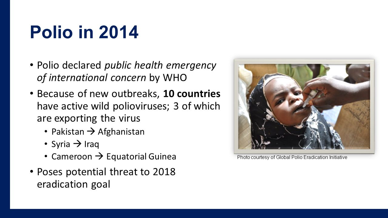 Polio in 2014 Polio declared public health emergency of international concern by WHO Because of new outbreaks, 10 countries have active wild polioviruses; 3 of which are exporting the virus Pakistan  Afghanistan Syria  Iraq Cameroon  Equatorial Guinea Poses potential threat to 2018 eradication goal Photo courtesy of Global Polio Eradication Initiative
