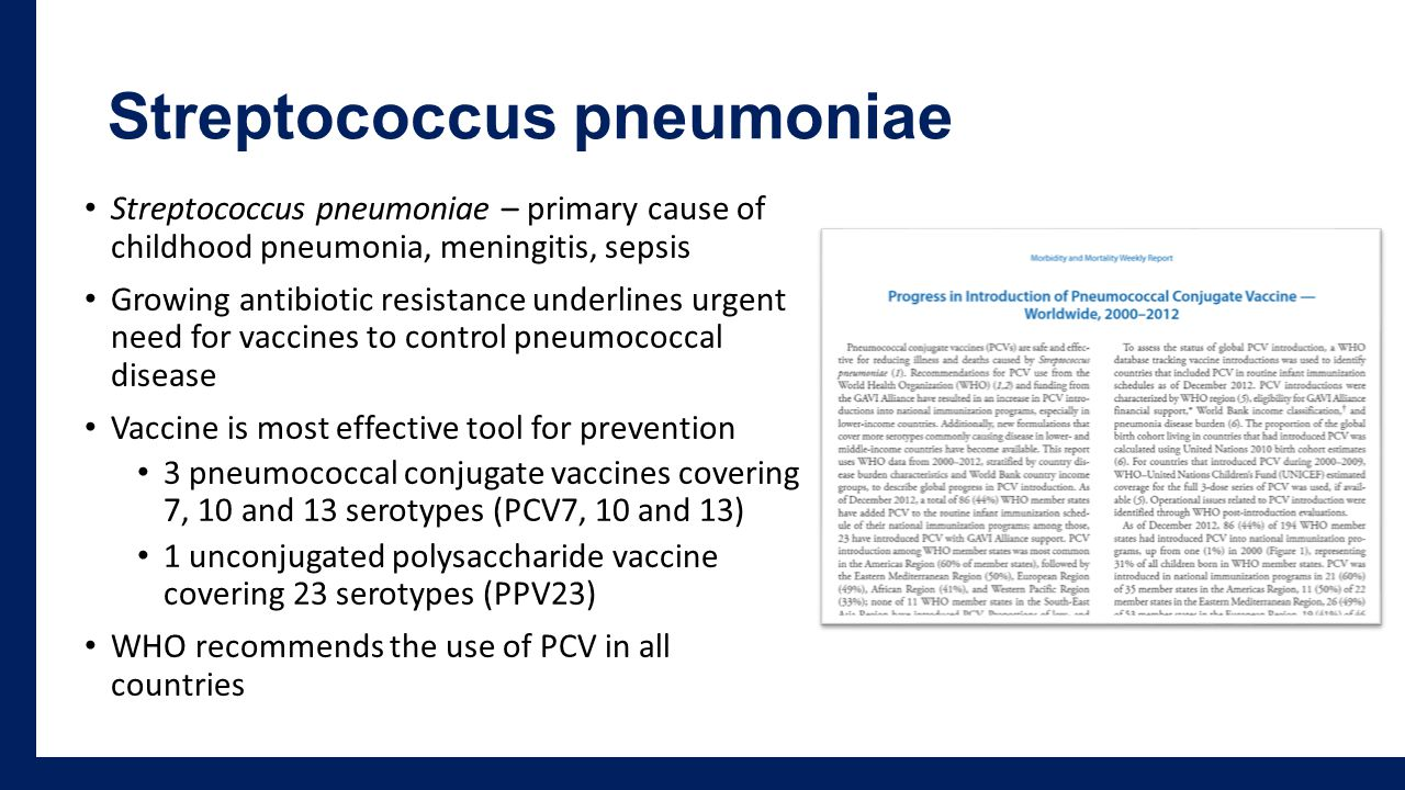 Streptococcus pneumoniae Streptococcus pneumoniae – primary cause of childhood pneumonia, meningitis, sepsis Growing antibiotic resistance underlines urgent need for vaccines to control pneumococcal disease Vaccine is most effective tool for prevention 3 pneumococcal conjugate vaccines covering 7, 10 and 13 serotypes (PCV7, 10 and 13) 1 unconjugated polysaccharide vaccine covering 23 serotypes (PPV23) WHO recommends the use of PCV in all countries