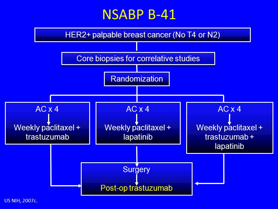 AC x 4 Weekly paclitaxel + trastuzumab Surgery Post-op trastuzumab AC x 4 Weekly paclitaxel + lapatinib AC x 4 Weekly paclitaxel + trastuzumab + lapatinib HER2+ palpable breast cancer (No T4 or N2) Randomization Core biopsies for correlative studies US NIH, 2007c.