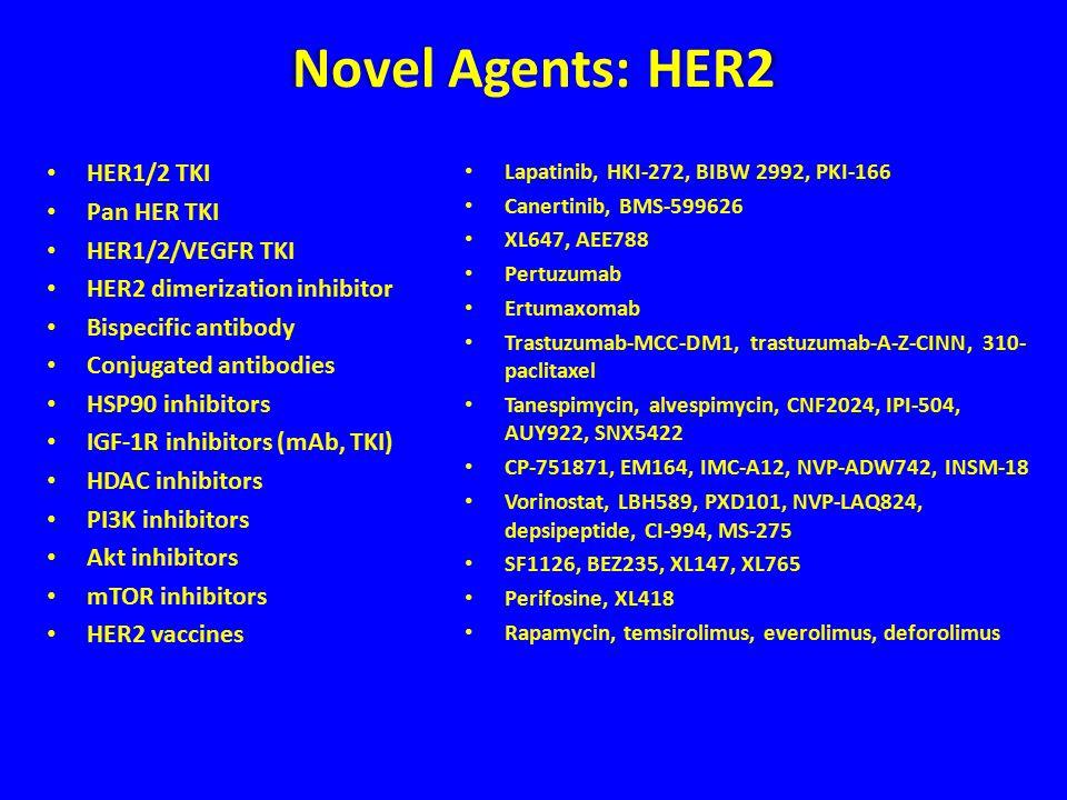 Novel Agents: HER2 HER1/2 TKI Pan HER TKI HER1/2/VEGFR TKI HER2 dimerization inhibitor Bispecific antibody Conjugated antibodies HSP90 inhibitors IGF-