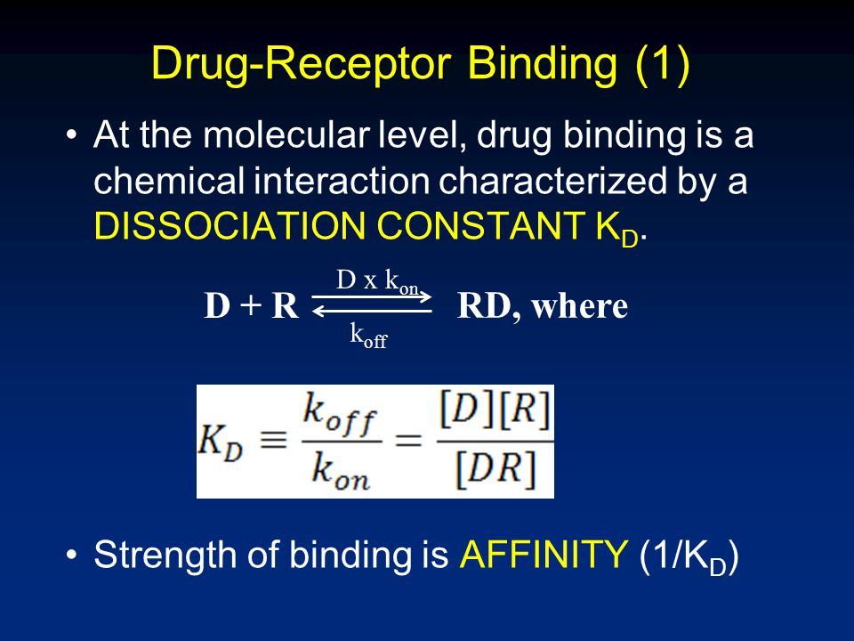 Drug-Receptor Binding (2) Can be rearranged to So, an increase in bound receptors [RD] can be increase in [D] or increase in [R] K D is constant Next slide