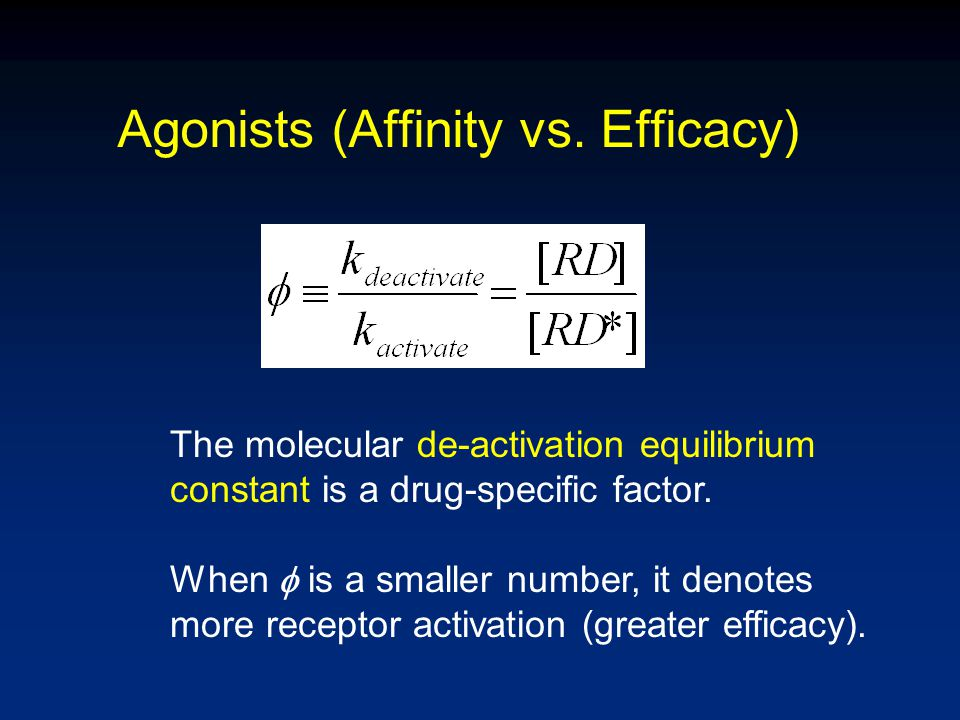 Agonists (Affinity vs. Efficacy) The molecular de-activation equilibrium constant is a drug-specific factor. When  is a smaller number, it denotes mo
