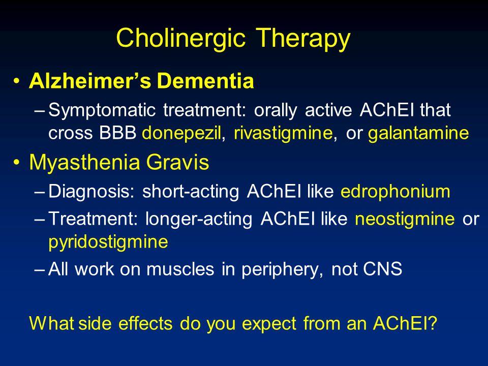 Cholinergic Therapy Alzheimer's Dementia –Symptomatic treatment: orally active AChEI that cross BBB donepezil, rivastigmine, or galantamine Myasthenia