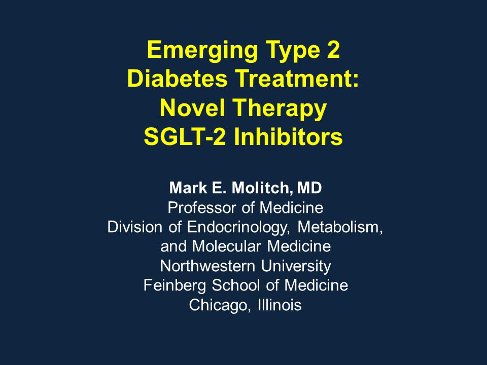 Emerging Type 2 Diabetes Treatment: Novel Therapy SGLT-2 Inhibitors Mark E. Molitch, MD Professor of Medicine Division of Endocrinology, Metabolism, a