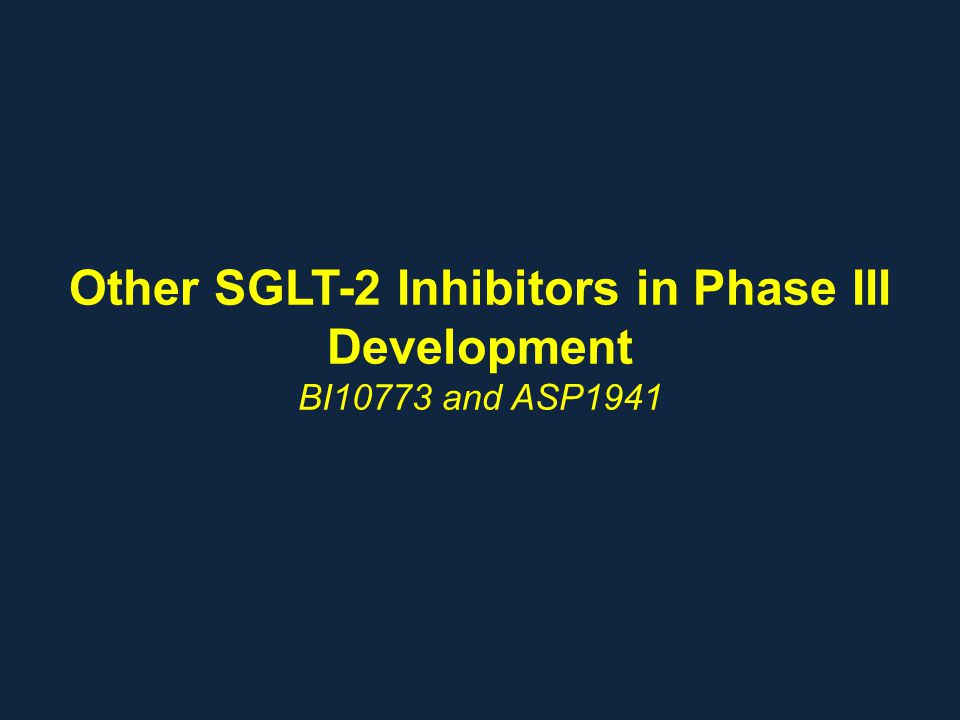 Other SGLT-2 Inhibitors in Phase III Development BI10773 and ASP1941