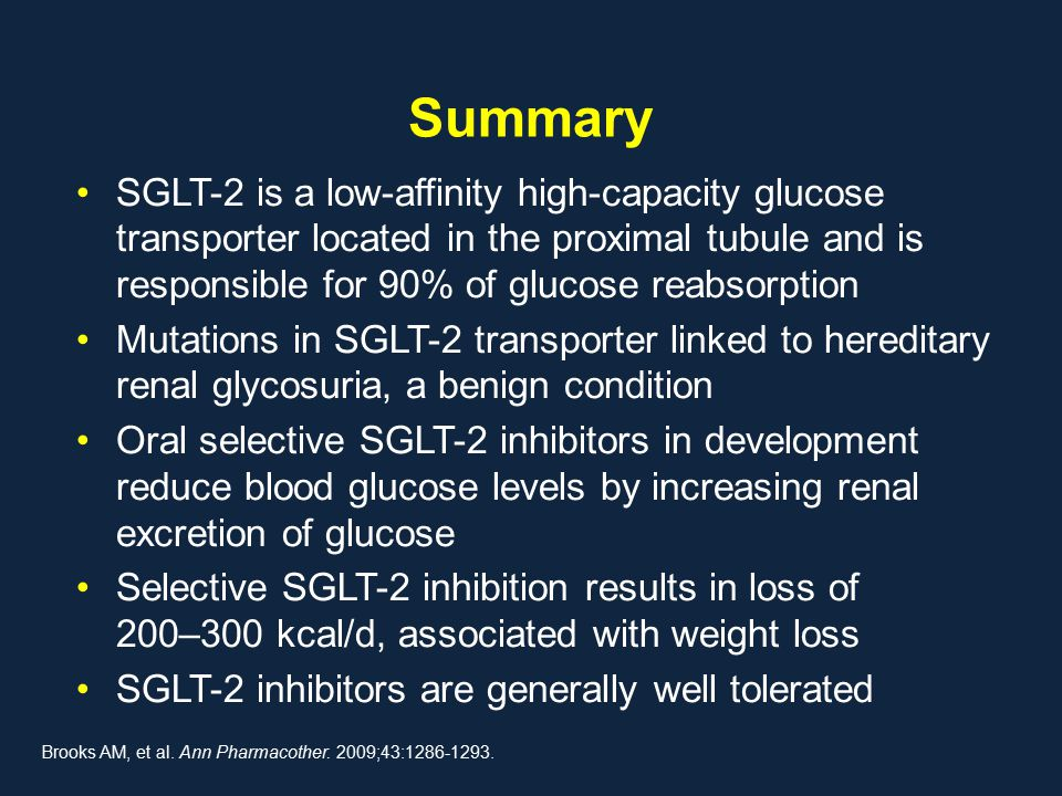 Summary SGLT-2 is a low-affinity high-capacity glucose transporter located in the proximal tubule and is responsible for 90% of glucose reabsorption M