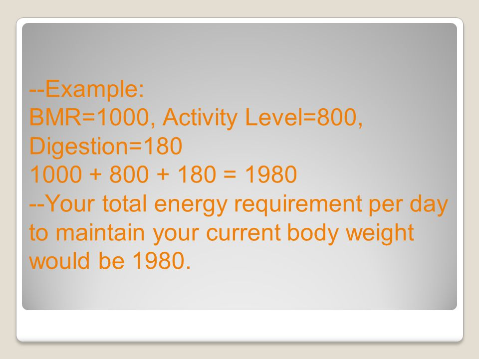 --Example: BMR=1000, Activity Level=800, Digestion=180 1000 + 800 + 180 = 1980 --Your total energy requirement per day to maintain your current body w