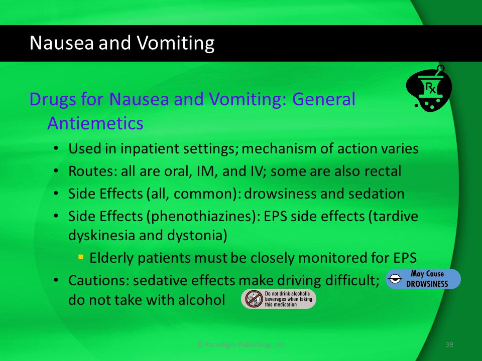 Nausea and Vomiting Drugs for Nausea and Vomiting: General Antiemetics Used in inpatient settings; mechanism of action varies Routes: all are oral, IM, and IV; some are also rectal Side Effects (all, common): drowsiness and sedation Side Effects (phenothiazines): EPS side effects (tardive dyskinesia and dystonia)  Elderly patients must be closely monitored for EPS Cautions: sedative effects make driving difficult; do not take with alcohol 39© Paradigm Publishing, Inc.