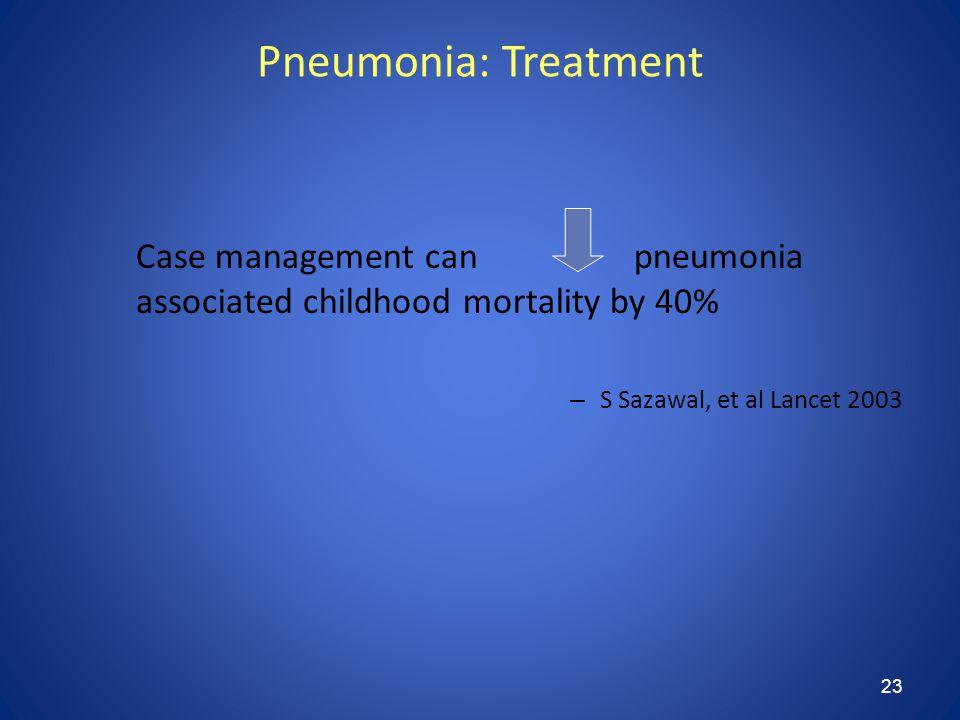 23 Pneumonia: Treatment Case management can pneumonia associated childhood mortality by 40% – S Sazawal, et al Lancet 2003