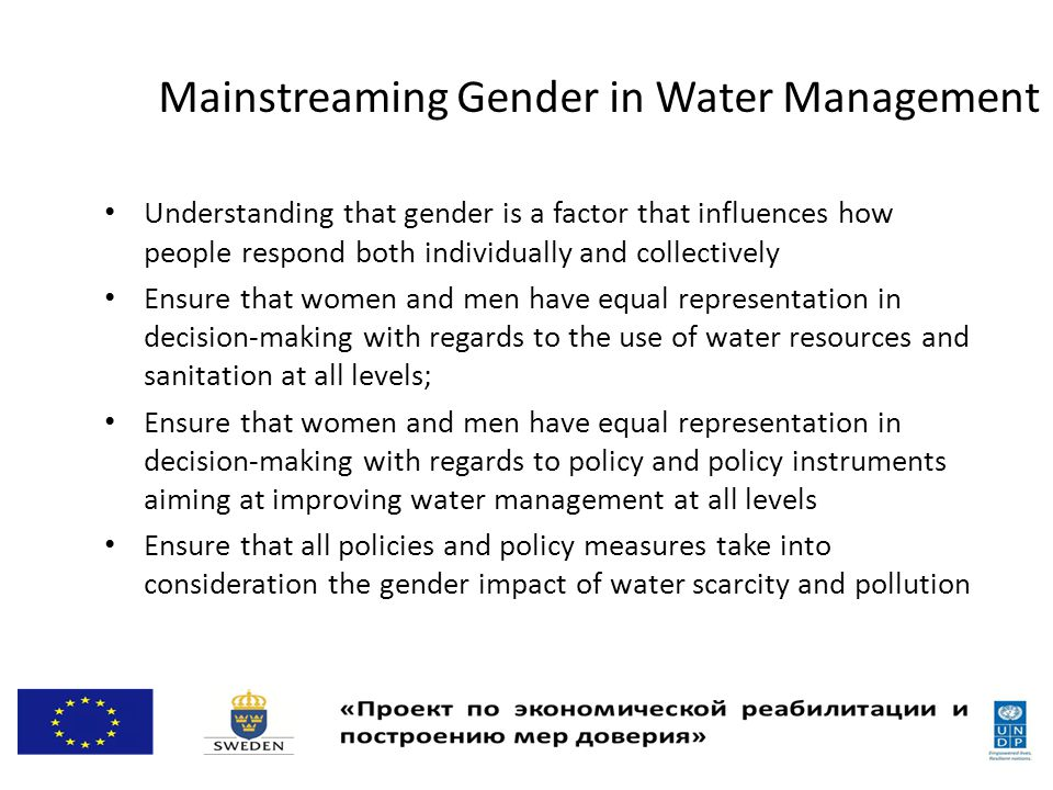 Mainstreaming Gender in Water Management Understanding that gender is a factor that influences how people respond both individually and collectively Ensure that women and men have equal representation in decision-making with regards to the use of water resources and sanitation at all levels; Ensure that women and men have equal representation in decision-making with regards to policy and policy instruments aiming at improving water management at all levels Ensure that all policies and policy measures take into consideration the gender impact of water scarcity and pollution