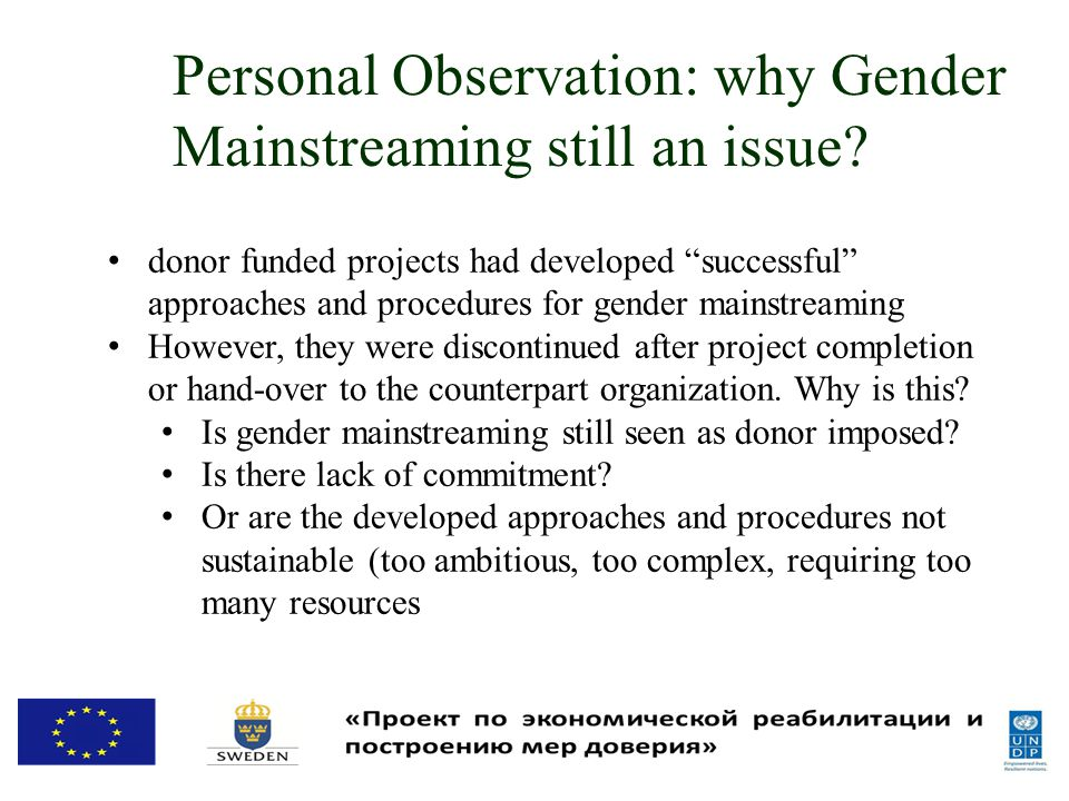 Personal Observation: why Gender Mainstreaming still an issue.