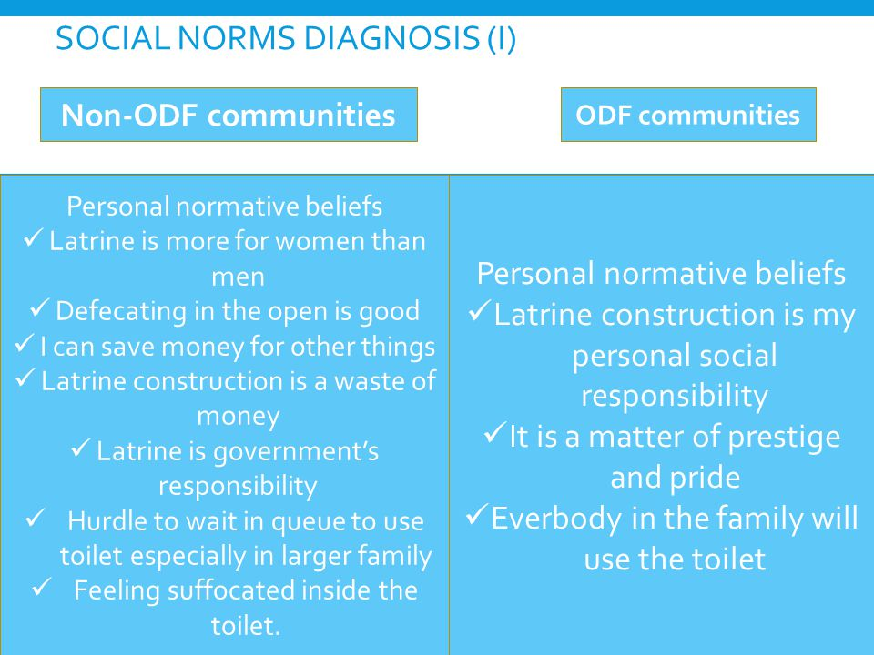SOCIAL NORMS DIAGNOSIS (I) Personal normative beliefs Latrine is more for women than men Defecating in the open is good I can save money for other things Latrine construction is a waste of money Latrine is government's responsibility Hurdle to wait in queue to use toilet especially in larger family Feeling suffocated inside the toilet.