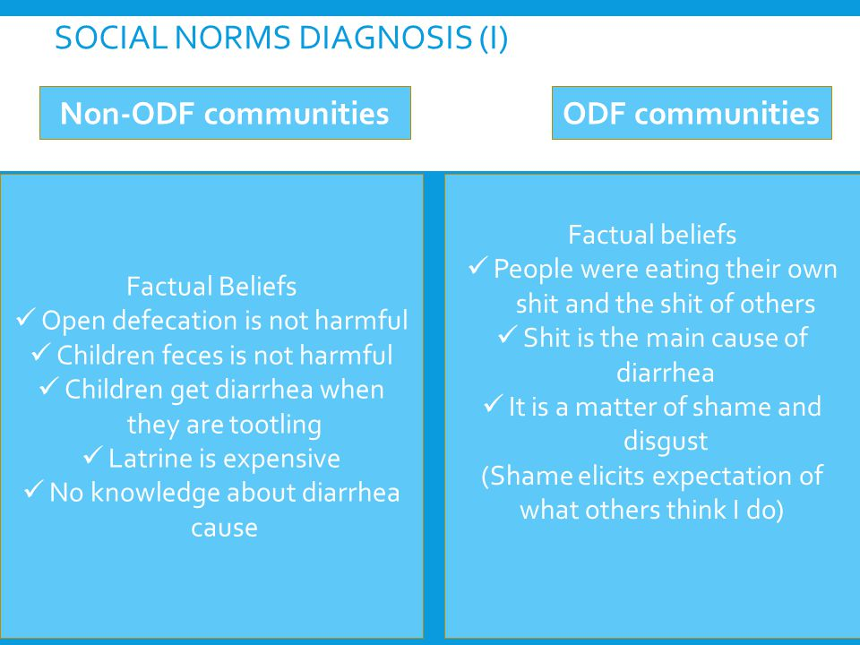 Factual Beliefs Open defecation is not harmful Children feces is not harmful Children get diarrhea when they are tootling Latrine is expensive No knowledge about diarrhea cause SOCIAL NORMS DIAGNOSIS (I) Non-ODF communitiesODF communities Factual beliefs People were eating their own shit and the shit of others Shit is the main cause of diarrhea It is a matter of shame and disgust (Shame elicits expectation of what others think I do)