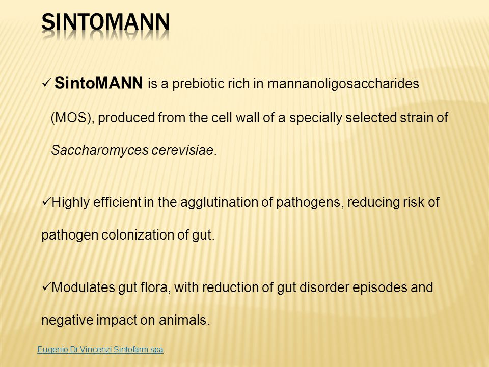 SintoMANN is a prebiotic rich in mannanoligosaccharides (MOS), produced from the cell wall of a specially selected strain of Saccharomyces cerevisiae.