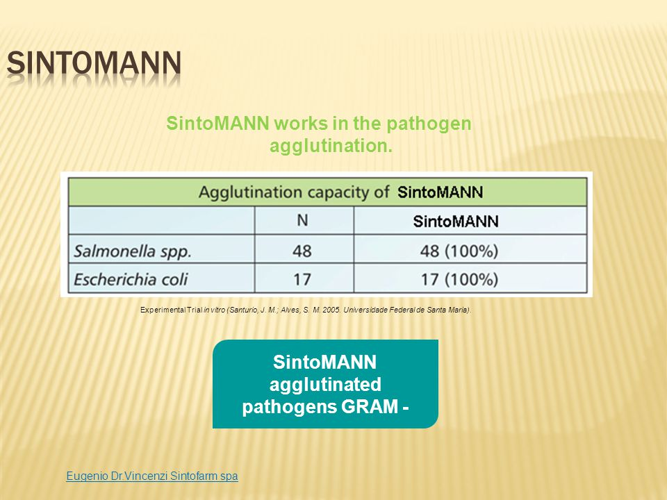 SintoMANN promotes weight gain in piglets 18% Higher Weight Gain 14% Better Feed Conversion 10% Higher Body Weight Eugenio Dr.Vincenzi Sintofarm spa