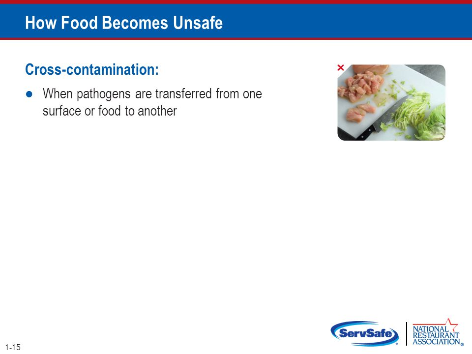 How Food Becomes Unsafe Cross-contamination: When pathogens are transferred from one surface or food to another 1-15 Pg 1.5 SSF 6e