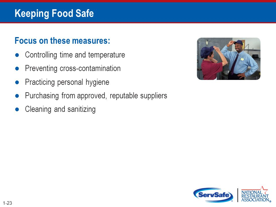 Keeping Food Safe 1-23 Focus on these measures: Controlling time and temperature Preventing cross-contamination Practicing personal hygiene Purchasing