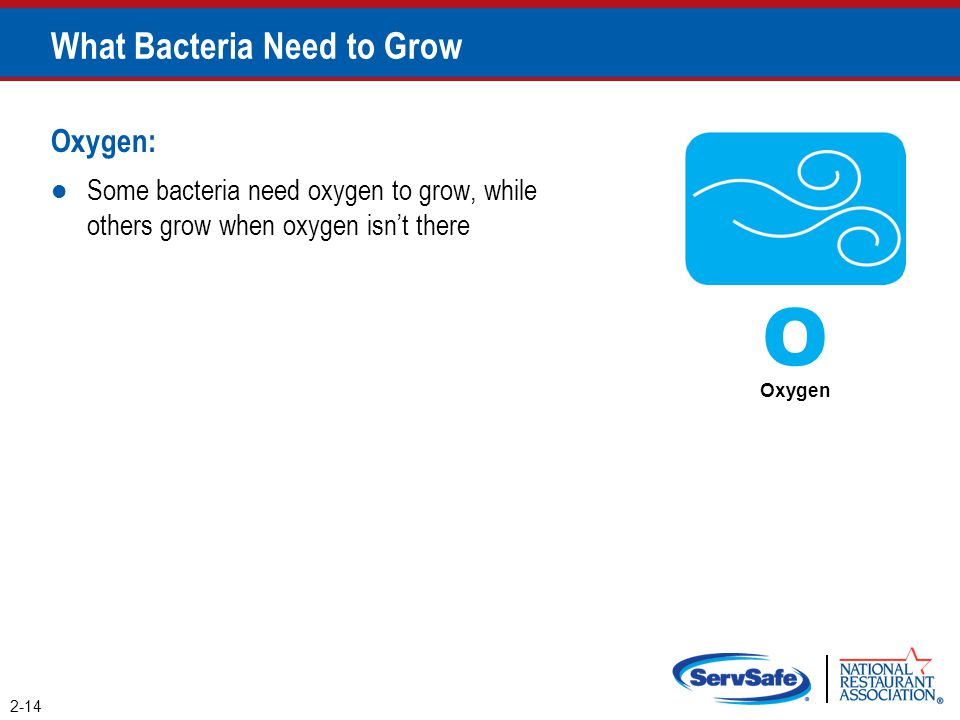 Oxygen: Some bacteria need oxygen to grow, while others grow when oxygen isn't there What Bacteria Need to Grow 2-14 O Oxygen
